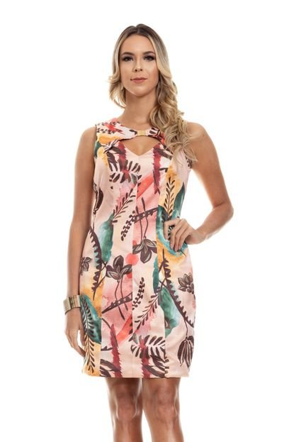 Clara Arruda Vestido Clara Arruda Decote Fivela Estampado 50560 Multicolorido AzthM