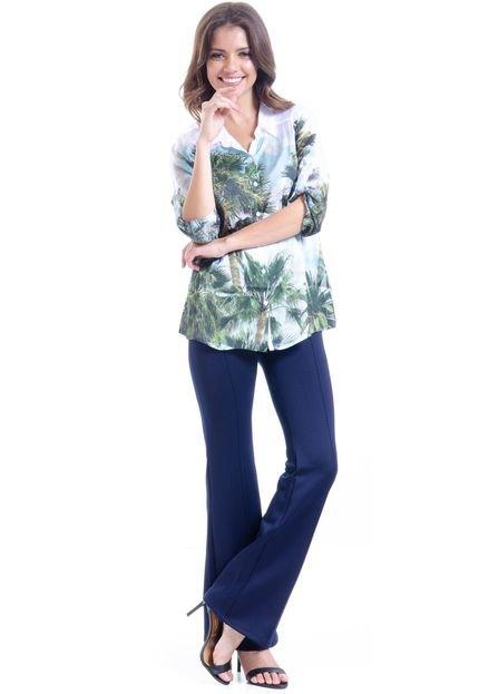 101 Resort Wear Camisa 101 Resort Wear Estampada Cetim Palmeira Verde