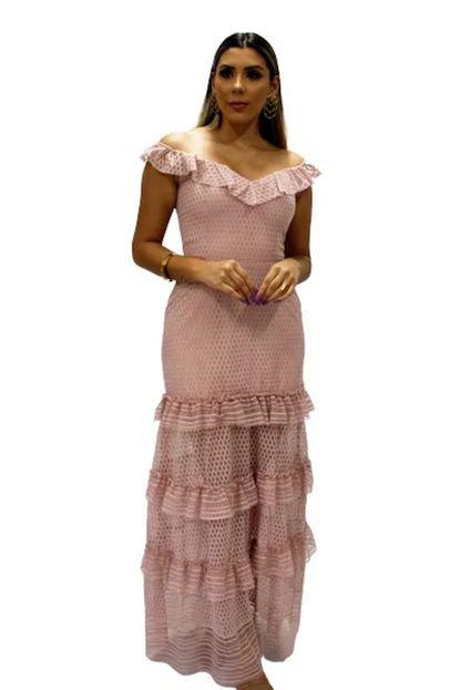 VANKOKE Vestido Longo Rosa Tule Vrr8W