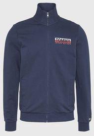 Polerón Tommy Jeans TJM GRAPHIC ZIPTHRU Azul - Calce Regular