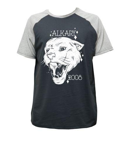 Camiseta Alkary Raglan Manga Curta Pantera Chumbo e Mescla