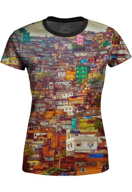 Over Fame Camiseta Estampada Baby Look Over Fame Favela Multicolorido vjlz9