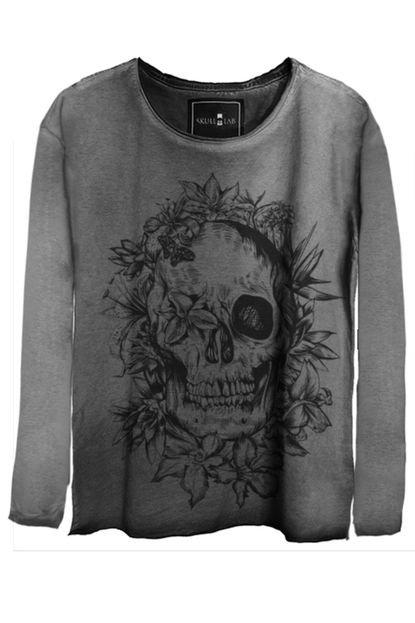 Skull Lab Camiseta Manga Longa Skull Lab Estonada Caveira Surf Praia Cinza Grafite vnQ4c