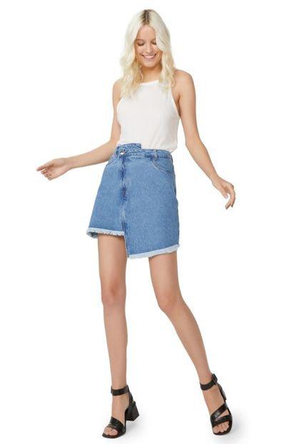 AMARO Saia AMARO Jeans Assimétrica Azul Medio xudnI