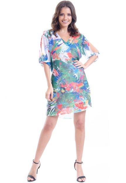 101 Resort Wear Vestido 101 Resort Wear Saída Manga Fendas Crepe Estampa Folhagem Verde t1GVE