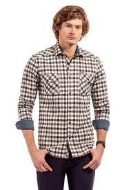 Camisa Manga Larga Checkered Café Ferouch