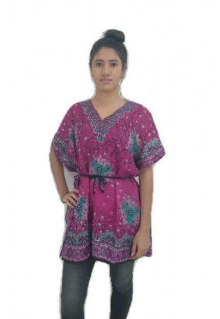 BON Blusa BON ampla arabescos Pink TkxdP
