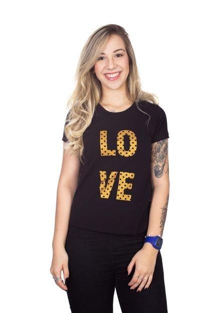 4 Ás Camiseta 4 Ás Preta Manga Curta Love erhad