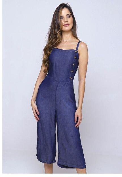 SOB Macacão Jeans Pantacourt SOB Azul com Botões Laterais vVGcT