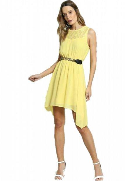 BON Vestido Bon Renda Aplicada & Recortes Vazados Amarelo FLcNp