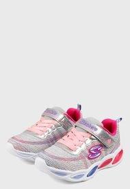 Tenis Training Plateado-Multicolor Skechers Kids S LIights 20300L Bkmt