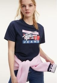 Polera Signature Logo Azul Tommy Jeans