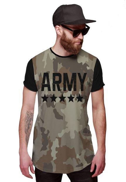 Camiseta Di Nuevo Longline Camuflada Neutra Army Swag Exército Preta