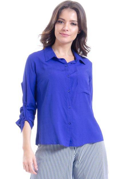 101 Resort Wear Camisa Viscose Lisa Basica Manga Longa Royal kyPrc