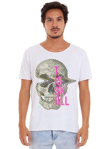Camiseta Estonada Corte À Fio Estampada Joss Skull Ondulada Branco
