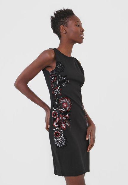 Desigual Vestido Desigual Curto Estampado Preto 3a24G