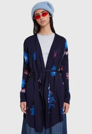 Cardigan Desigual Pullover Fall Flower Azul - Calce Regular