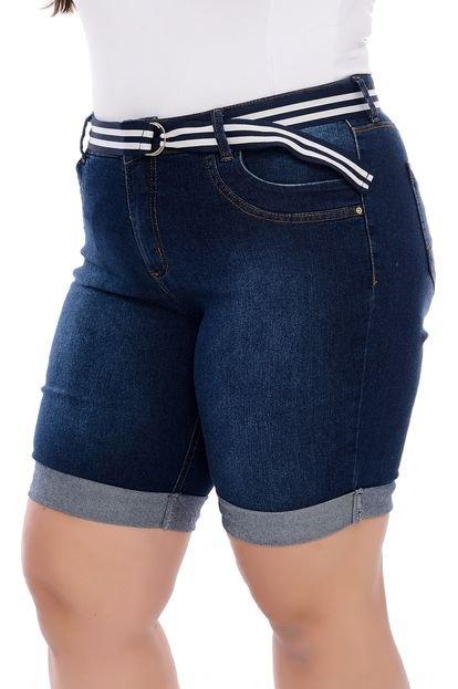 Manifesto Bermuda Jeans Plus Size Pedal de Barrinha Virada-60 oljEj