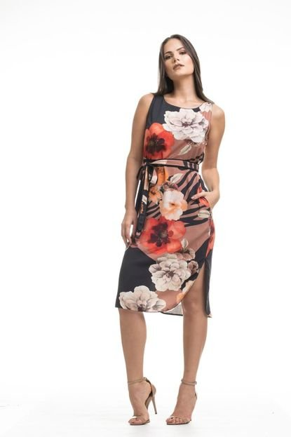 Clara Arruda Vestido Clara Arruda Midi Bolsos Estampado  50485 Floral BAIXJ