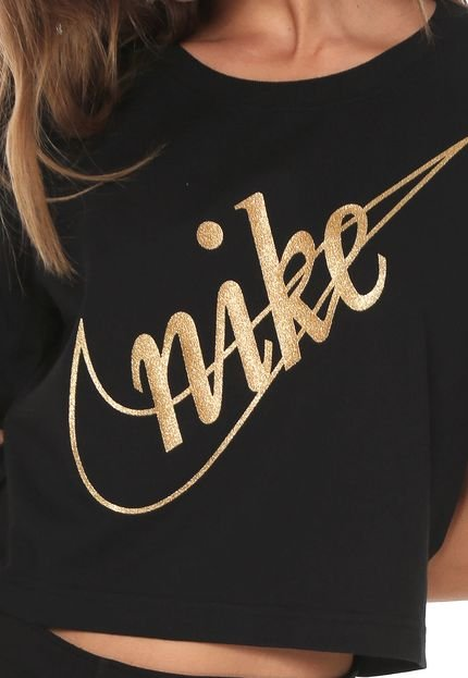Nike Sportswear Camiseta Cropped Nike Sportswear Nsw Tee Crop Glit Preta