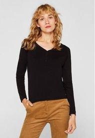 Sweater Con El Cuello En V Con Cachemir Negro Esprit