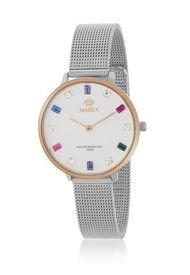 Reloj Trendy Plateado Con Cristales Marea Watches