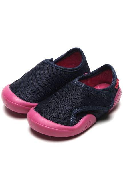 Tênis Klin Infantil New Confort Azul-Marinho/Rosa