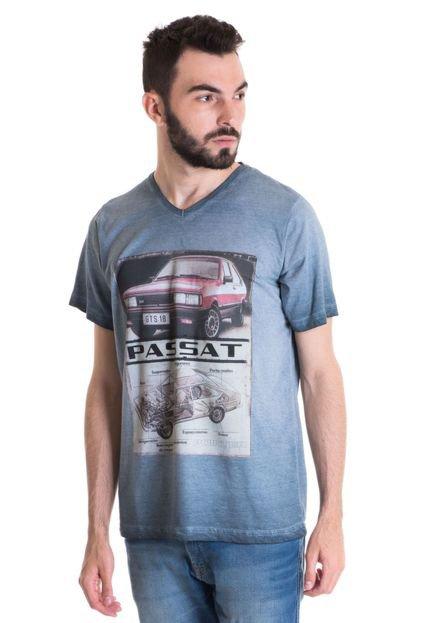 Camiseta Masculina Manga Curta Estonada 33006 Cinza