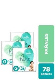 Pack X 3 Pañales Desechables Pure Protection 78 Unidades Verde Pampers