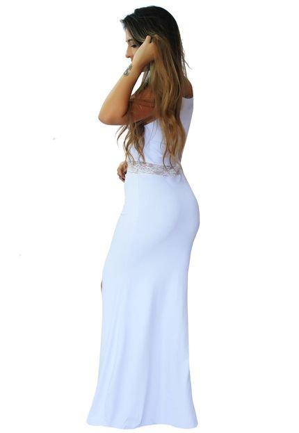Racy Modas Vestido Racy Modas Longo Festa Decotado com Fenda e Renda na Cintura Branco