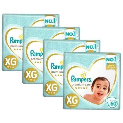 Kit Fralda Pampers Premium Care Jumbo Tamanho Xg 240 Unidades Branca