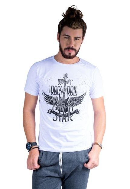 Camiseta Mister Fish Estampado Rock and Roll Branco