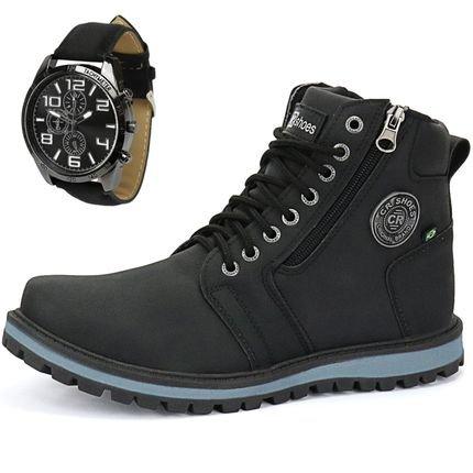 CR Shoes kit Bota Coturno Casual Cr Shoes Com Relógio Preto gBLBD