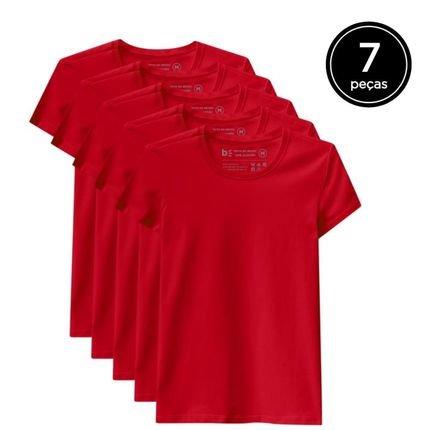 Basicamente. Kit de 7 Camisetas Basicamente. Babylook Básicas Vermelho fE1Jh