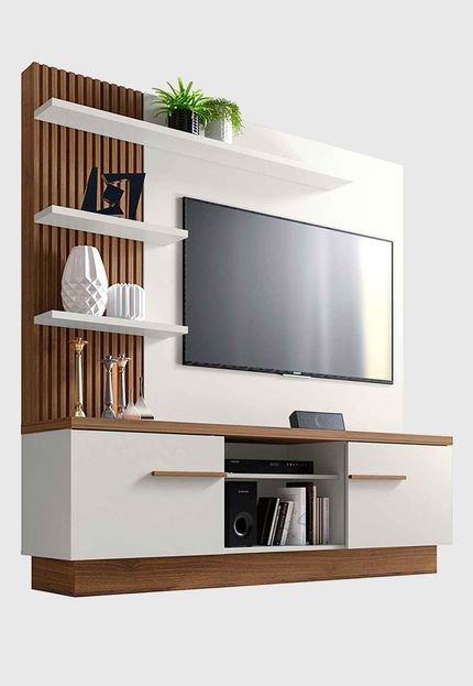 Menor preço em Home P/ TV de até 55 Pol. Itaipu Off White/nogueira Linea Brasil
