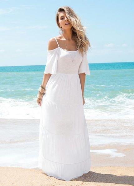 Quintess Vestido Quintess Ombros de Fora Branco
