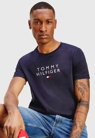 Polera Tommy Hilfiger STACKED TOMMY FLAG TEE Azul - Calce Regular