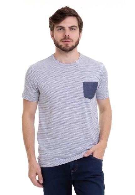 Camiseta Hifen Em Listras Finas Com Bolso Jeans Azul