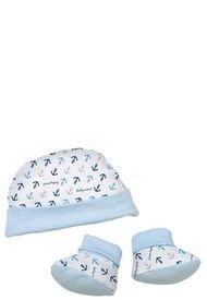 Pack Para Bebé, Gorrito Y Zapatitos  Azul Baby Mink