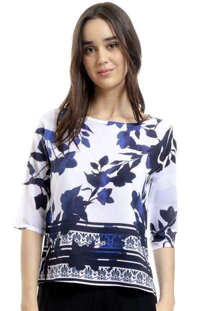 101 Resort Wear Blusa 101 Resort Wear Tunica Crepe Estampada Folhagem Azul 1P1pC