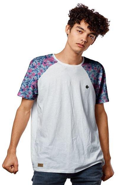 Camiseta Raglan Mangas Estampadas Floral Azul e Rosa