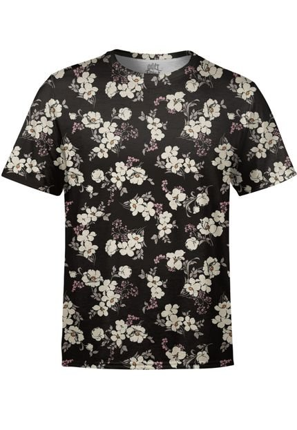 Camiseta Estampada Over Fame Flor da Cerejeira Preta