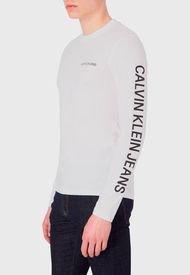 Polera Calvin Klein Jeans ESSENTIAL INSTIT LS TEE Blanco - Calce Regular