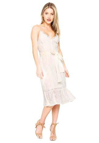 Vestido Ana Hickmann Midi Bordado Off White