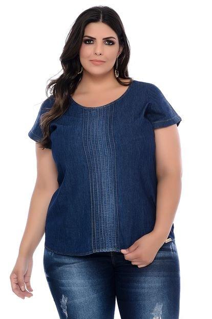 Forma Rara Blusa Plus Size Forma Rara Jeans com Nervuras hMk8c