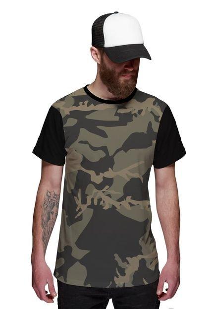 Camiseta Di Nuevo  Camuflada Exército Preta