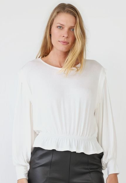 AMBER Blusa AMBER Lastex Off-White YEuwN