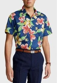 Camisa Classic Fit Floral Camp Azul Polo Ralph Lauren