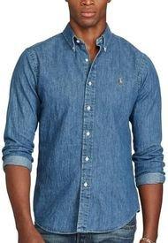 Camisa Hombre Slim Fit Denim Azul Polo
