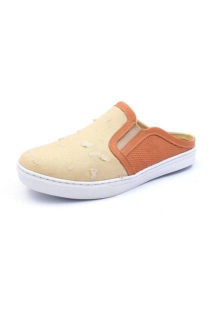 Click Calçados Tênis Mule Click Calçados Couro e Tecido Jeans Desbotado Creme hGKmw
